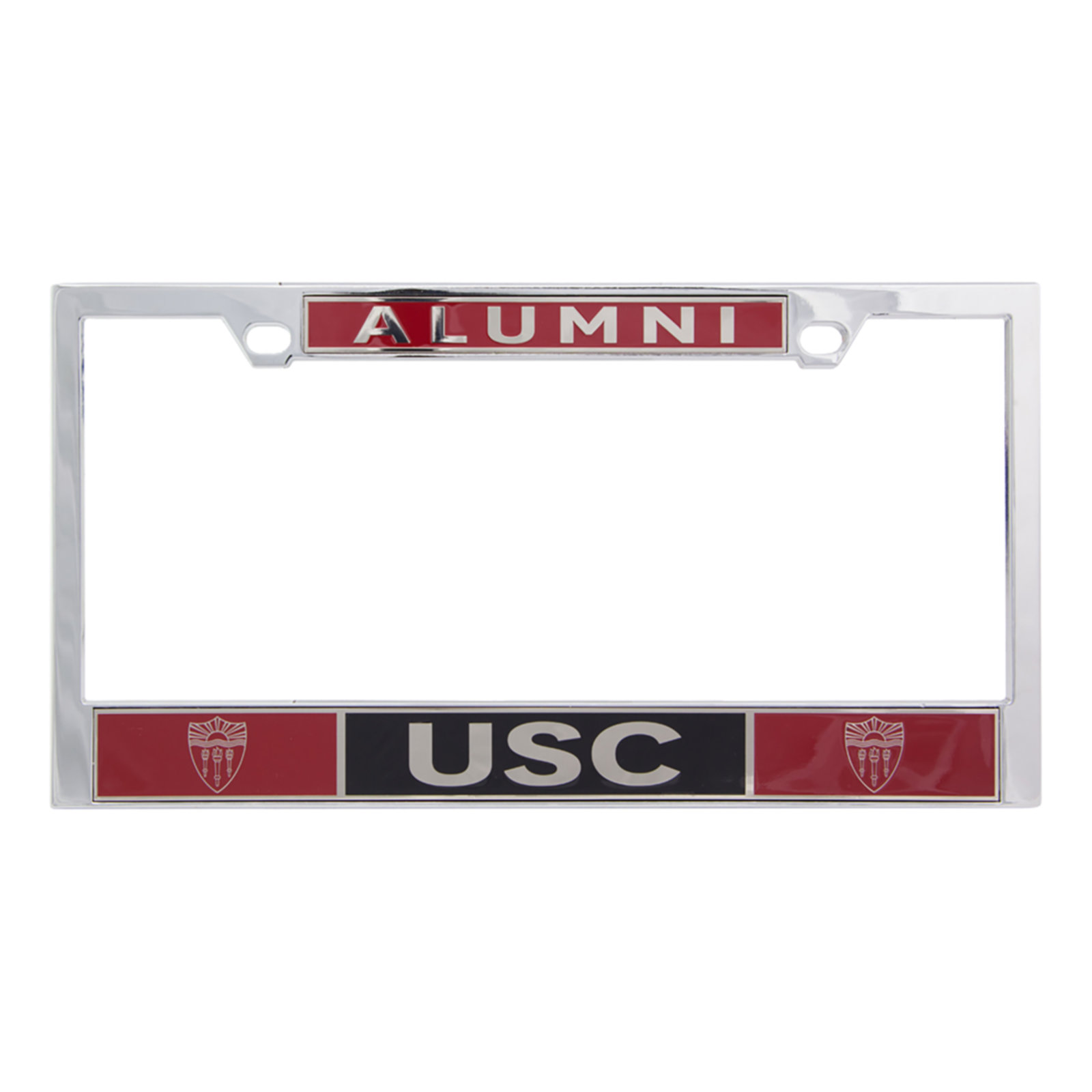 usc shield alumni license plate frame heavy chrome