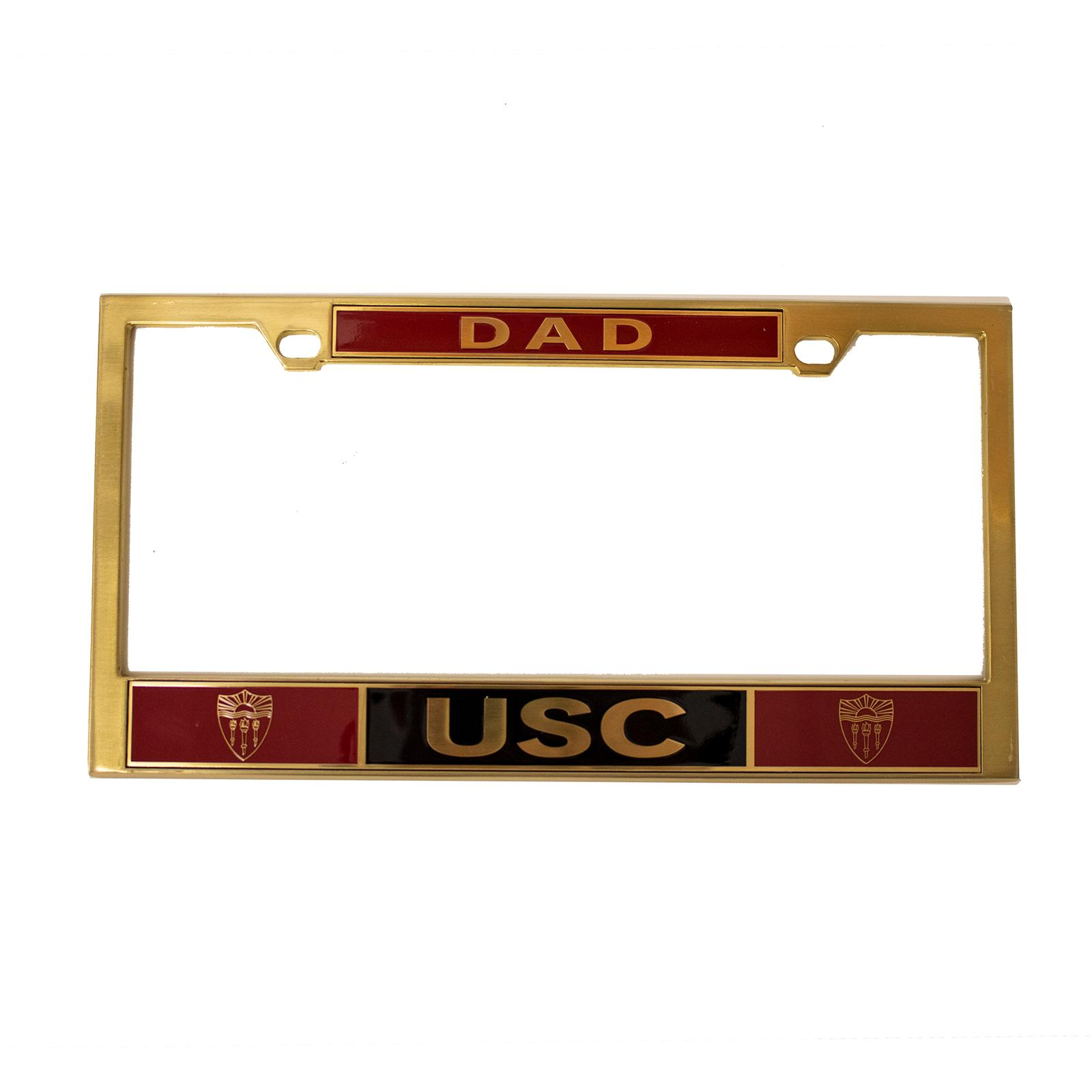 usc brass dad license plate frame