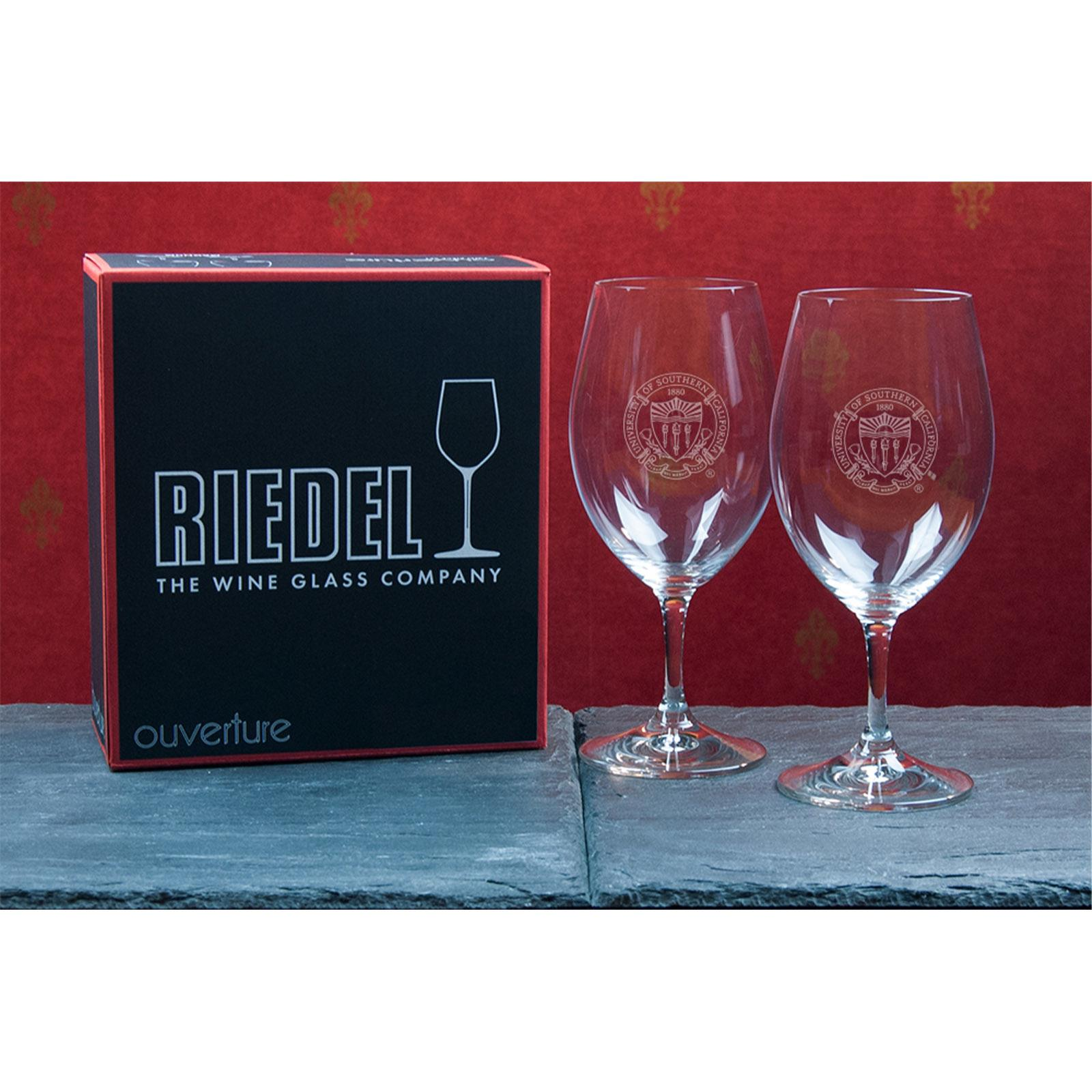 USC Seal Riedel Red Wine Glass