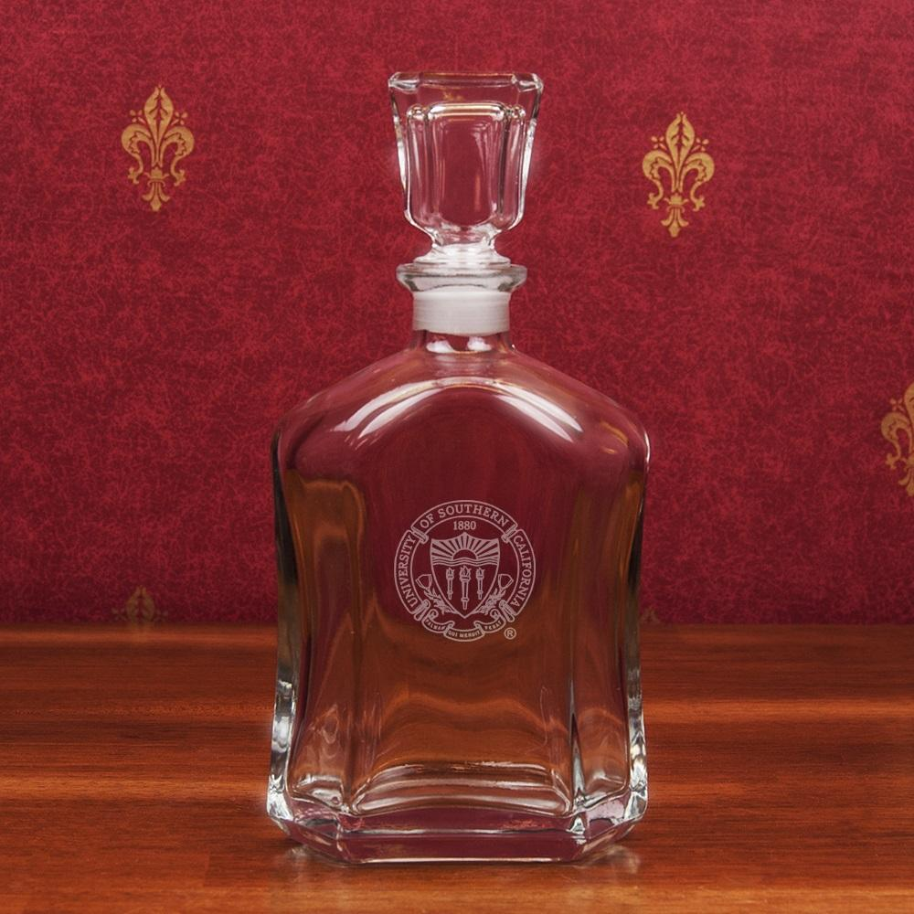 USC Seal Crystal Whiskey Decanter