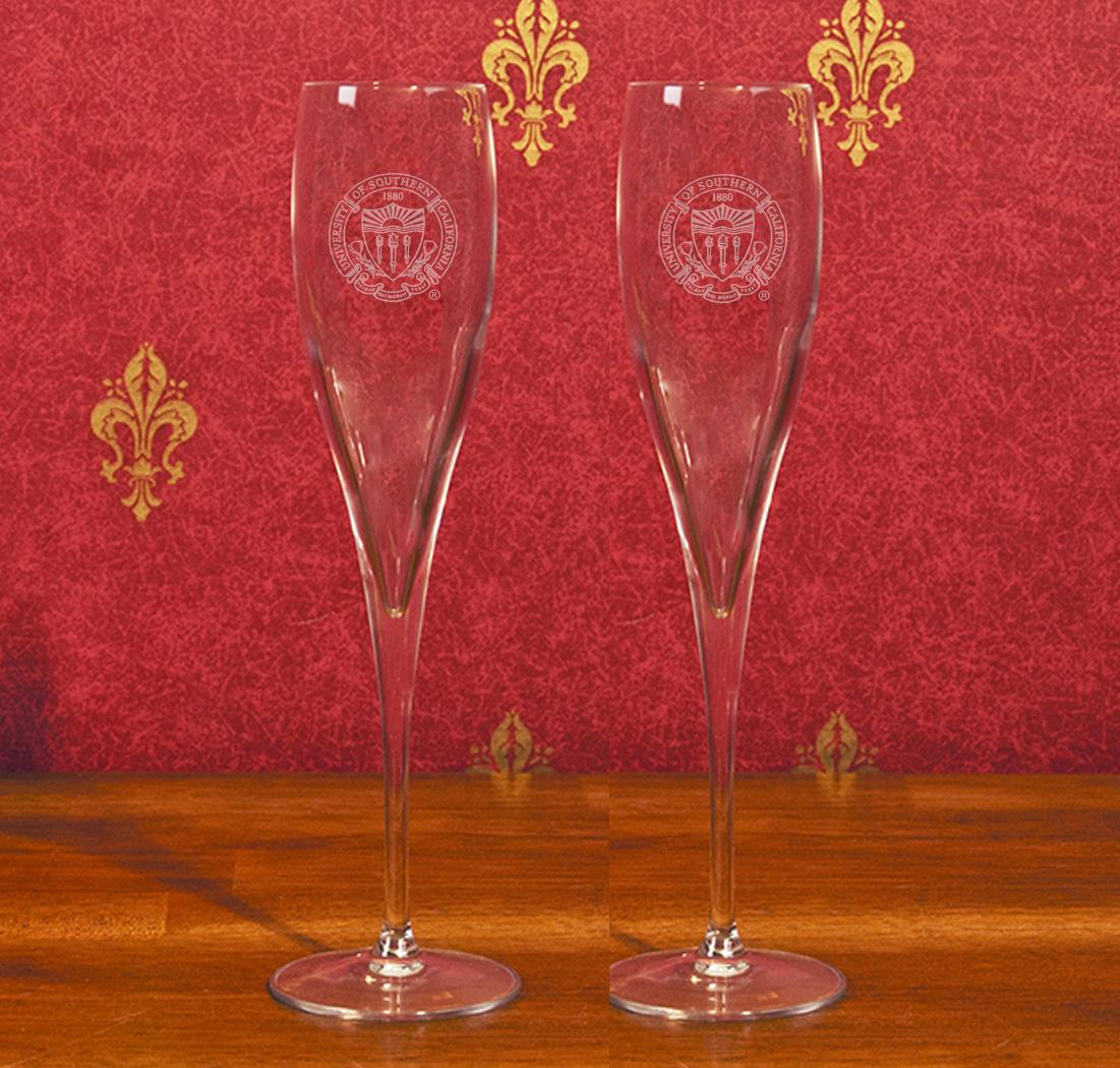 USC Seal Champagne Glass Set