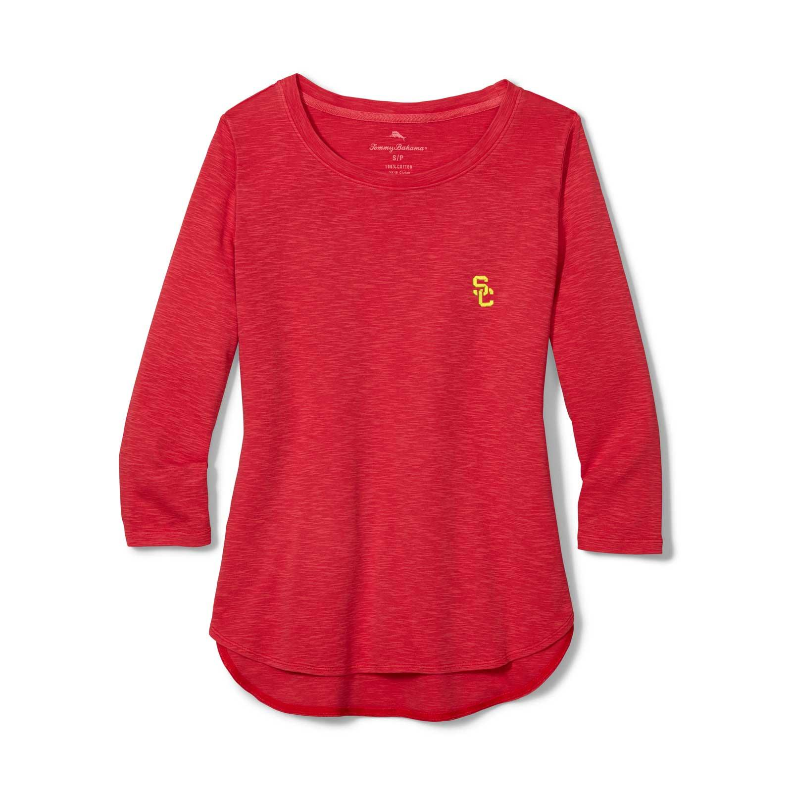 USC Trojans Women's SC Interlock Ashby Rib 3/4 Sleeve Top