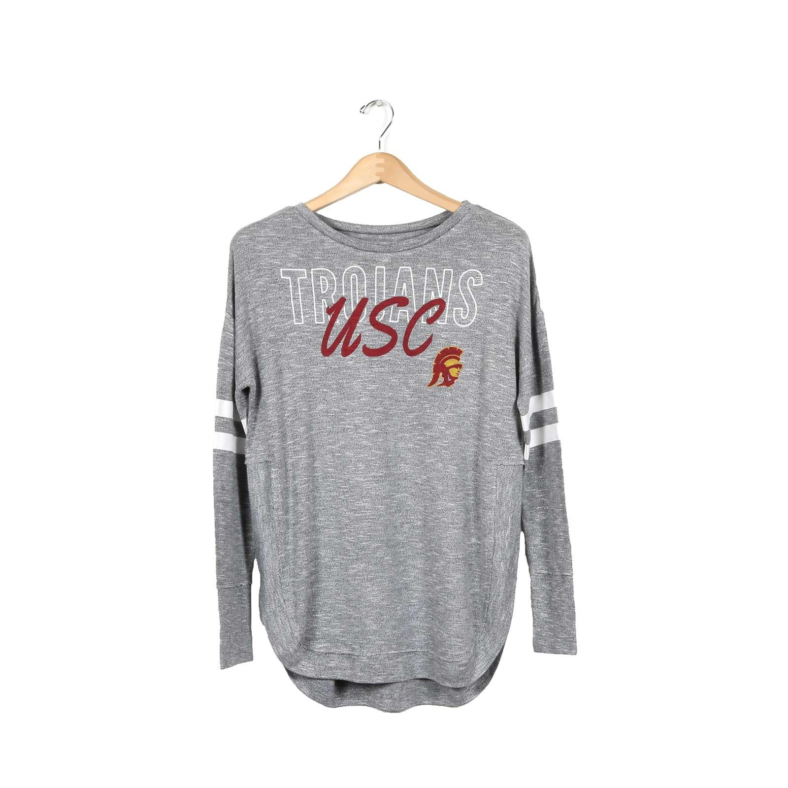 USC Trojans Women's Charcoal Marble Long Sleeve Sleep T-Shirt