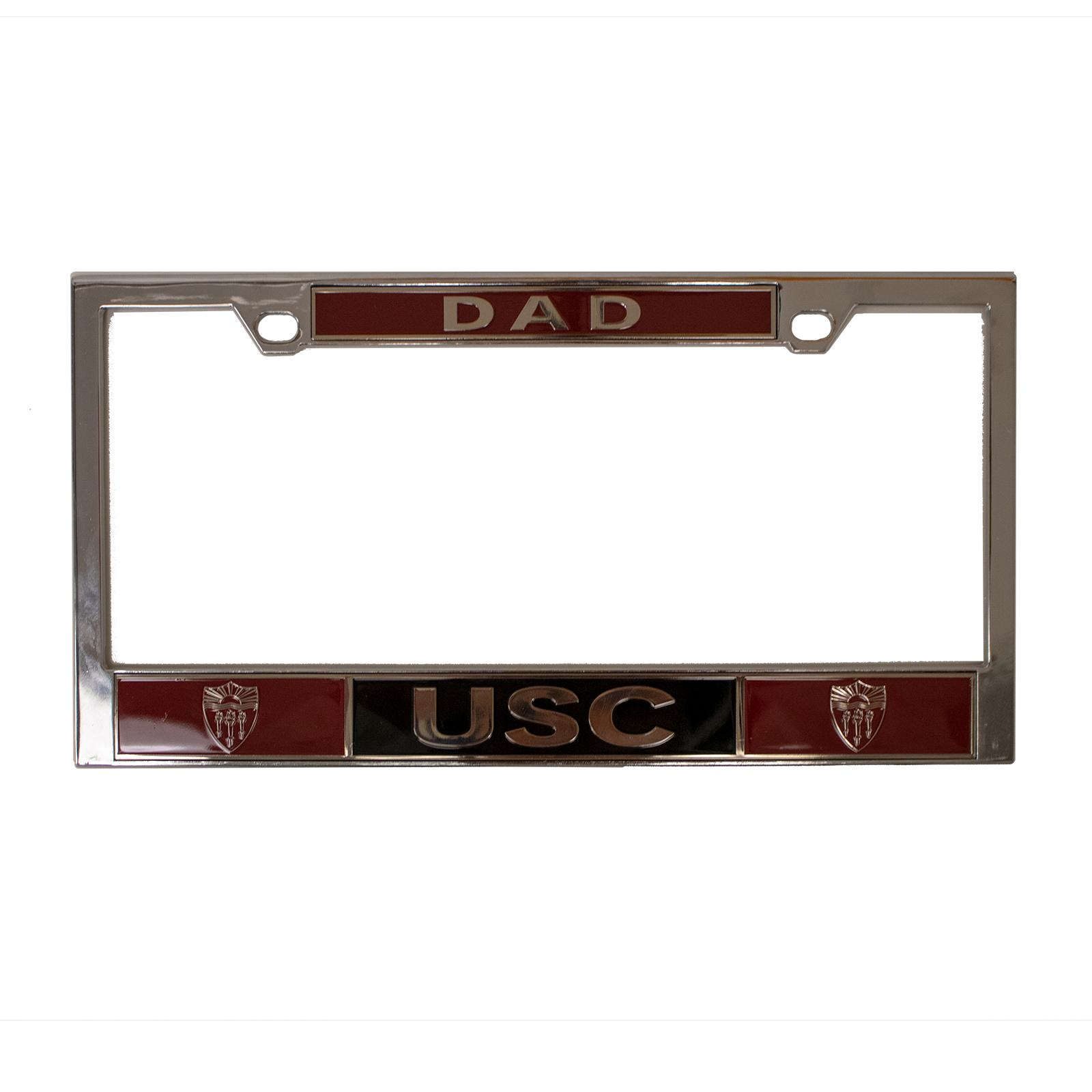 USC Shield Dad License Plate Frame In Chrome
