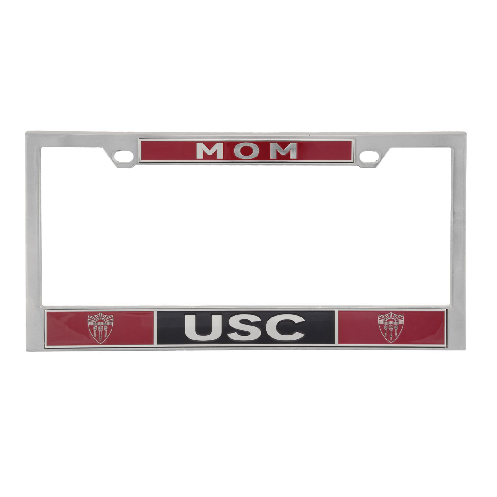 USC Shield Mom License Plate Frame In Chrome