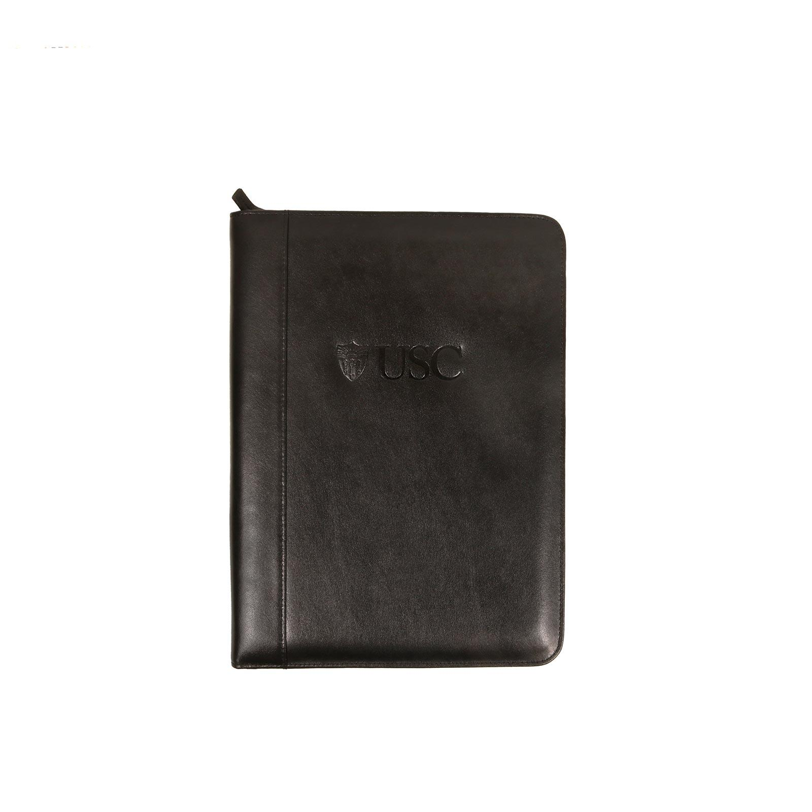 USC Trojans Black Shield Leather Zippered Padfolio